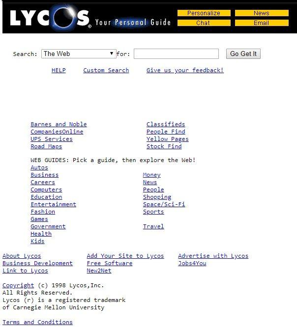 vista della homepage di lycos nel 1998